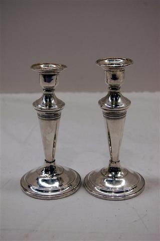 400: PAIR OF STERLING CANDLESTICKS W/ WEIGHTED BASES -