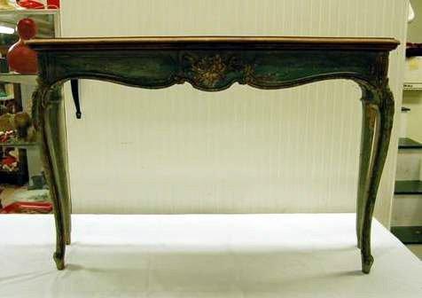 405: ITALIAN STYLE HALL TABLE W/ DECORATED FINISH & PAR