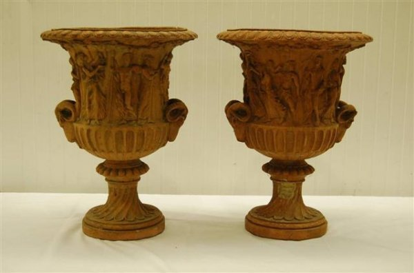 407: PAIR OF NEO CLASSICAL STYLE URNS W/ RAMS HEAD HAND