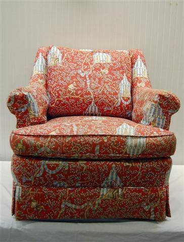 """409: PAIR OF NICELY UPHOLSTERED EASY CHAIRS - 31"""" T x 3"""