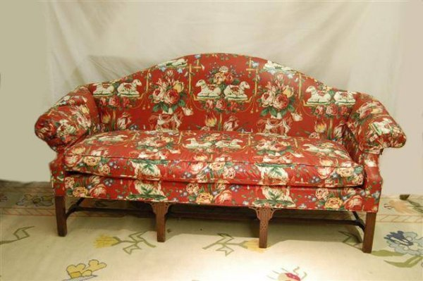 410: CHIPPENDALE STYLE CAMEL BACK SOFA W/ FRETWORK CARV