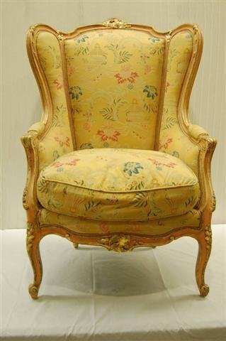 414: LOUIS XV STYLE WING CHAIR W/ DECORATED FINISH - 44