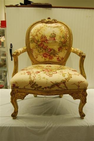 415: PAIR OF GILT FRAMED LOUIS XV STYLE OPEN ARMCHAIRS