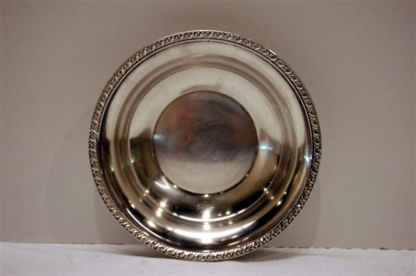 """416: ROUND STERLING SERVING BOWL - 9"""" DIA - MARKED B73"""