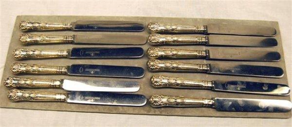 417: TWELVE ENGLISH KNIVES W/ HALLMARKED STERLING HANDL