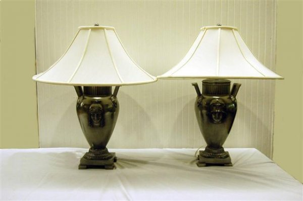 418: PAIR OF ART DECO STYLE POLISHED STEEL LAMPS W/ ROM