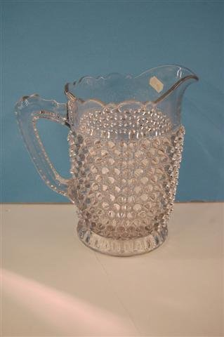 601: CLEAR PATTERN GLASS PITCHER, HOBNAIL WITH THUMBPRI