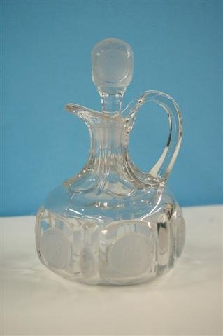 """604: PATTERN GLASS CRUET - """"COIN"""" WITH MATCHING STOPPER"""