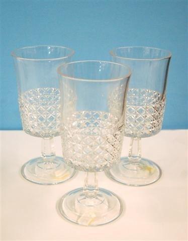 "605: THREE PATTERN GLASS GOBLETS - 6 5/8""H"