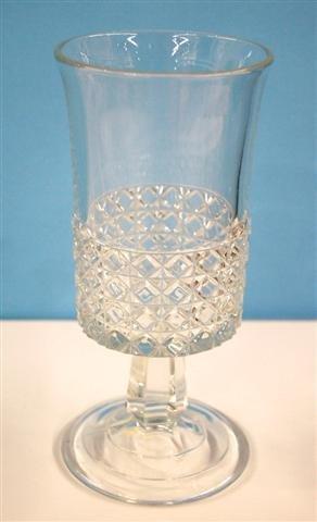 """607: PATTERN GLASS CELERY VASE - 8""""H"""