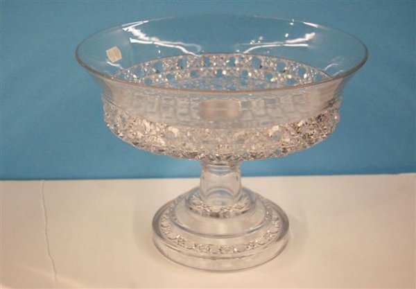"""611: PATTERN GLASS COMPOTE - 7 1/4""""H , 9 5/8""""D"""