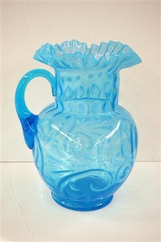 614: BLUE OPALESCENT ART GLASS PITCHER, SPANISH LACE WI