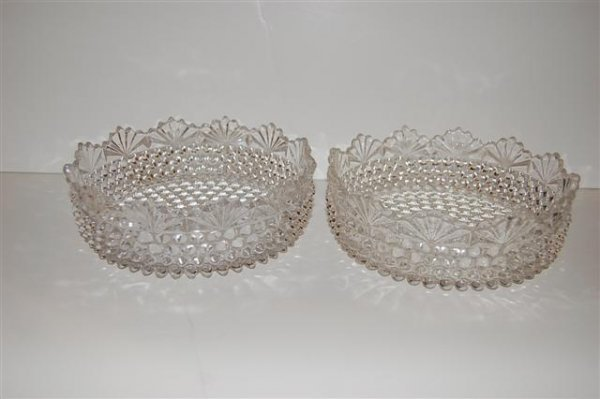 615: PAIR OF PATTERN GLASS LOW BOWLS, HOBNAIL WITH FAN