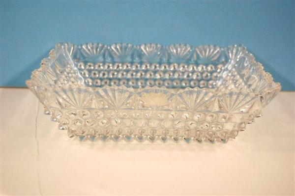 617: CLEAR PRESSED GLASS RECTANGULAR BOLW, HOBNAIL WITH