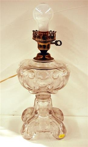 """624: CLEAR PATTERN GLASS OIL LAMP - 10""""H (BASE ONLY), 6"""