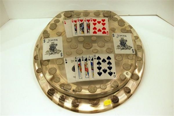 639: ACRYLIC TOILET SEAT WITH COINS AND CARDS