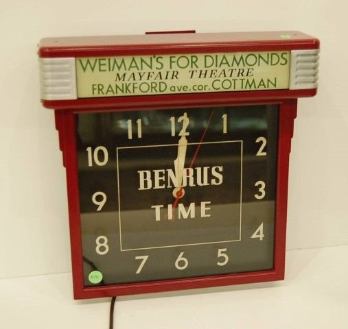 "670: BENRUS ADVERTISING CLOCK FOR ""WEIMAN'S FOR DIAMO"
