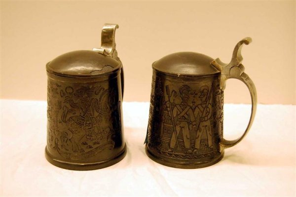 4: TWO GERMAN PEWTER STEINS - ONE ENGRAVED WITH HUNTERS