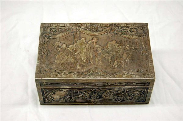 13: CONTINENTAL SILVER ON COPPER JEWELRY BOX WITH ENGRA