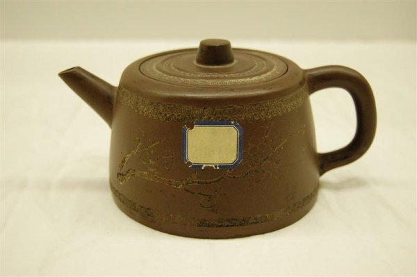 16: CHINESE TERRA COTTA INDIVIDUAL TEA POT, SIGNED AND