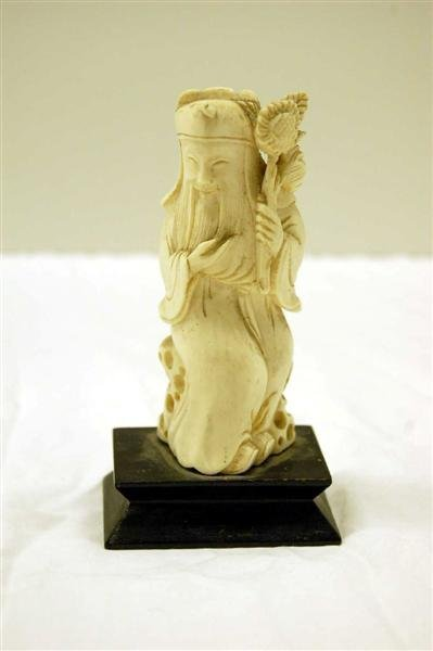 21: ORIENTAL IVORY CARVING WISE MAN HOLDING FLOWERS - 4