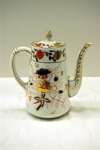 22: ROYAL CROWN DERBY GAUDY DECORATED COFFEE POT - 7 3/