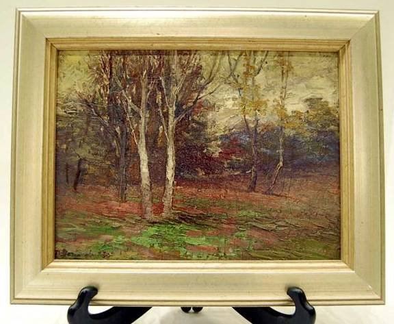 86: IMPRESSIONISTIC OIL ON CANVAS, FOREST LANDSCAPE, SI