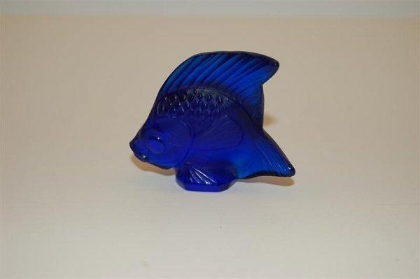 """Cobalt Blue Lalique Angel Fish - 1 3/4"""" t x 2 1/4"""" w"""