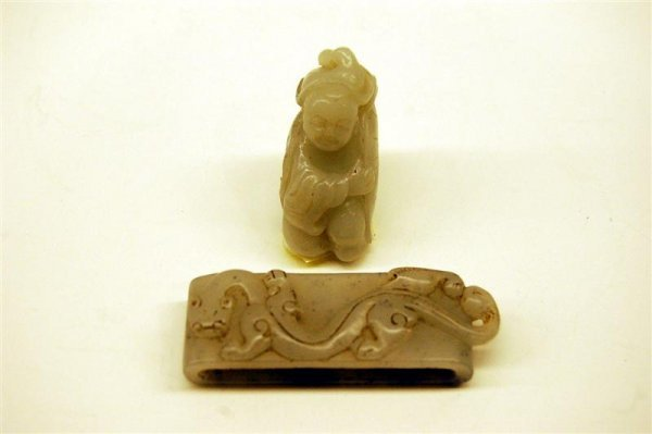 Carved Chinese Jade Buddah Figure & Dragon Napkin Ring