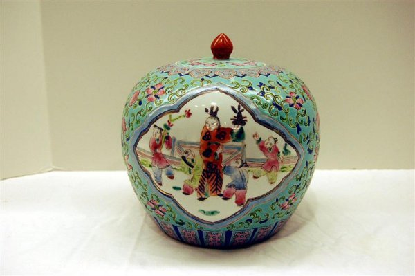 Chinese Ginger Jar with Incised and Hand Painted Dec.