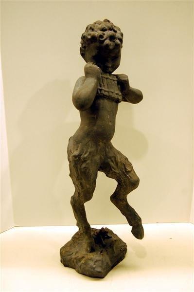 Garden Fountain Statue - Faun by B. Baldwin. Lead, Frog