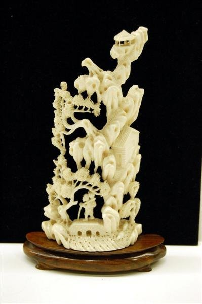 Chinese Ivory Carving, Mountain Village Scene
