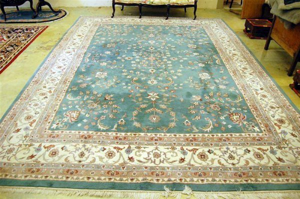 210: Indo-Chinese Room Size Rug, floral pattern on teal