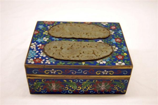Chinese Cloisonne Box - Floral on Blue background with