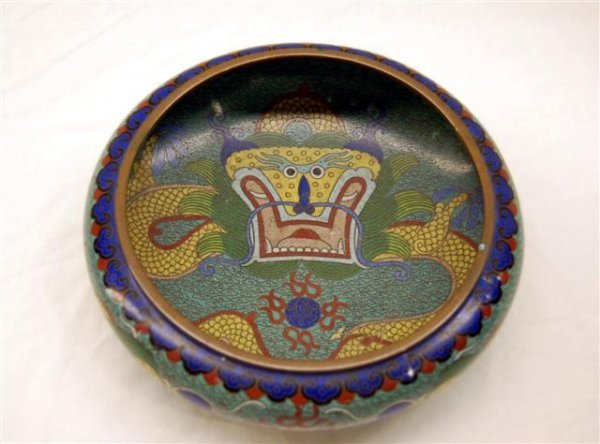 """Chinese Cloisonne Bowl with Dragon Decoration - 3"""" hi"""