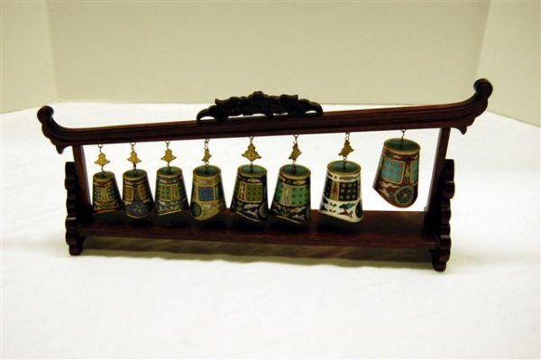 """Small Oriental Stand with Cloisonne Bells - 14"""" wide"""