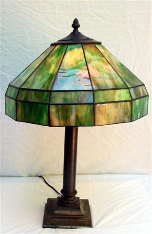 Metal Lamp with Slag Glass Shade