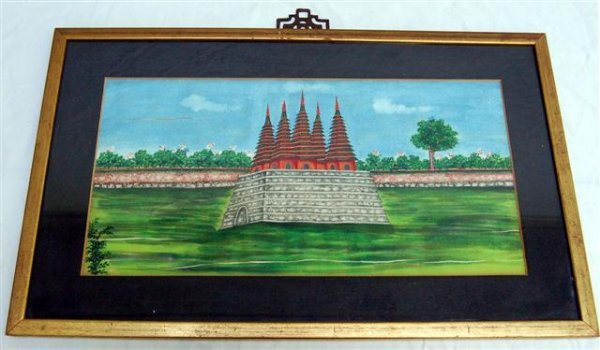 """Seven Framed Chinese Watercolors - Palace Scenes - 7"""""""