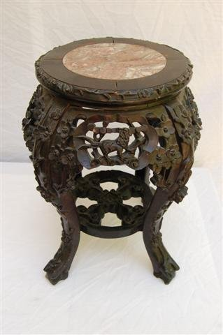 """Carved Chinese Teak Stand with Marble inset top - 18"""" t"""