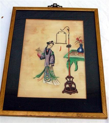 Seven Framed Chinese Watercolors - Domestic Figures - s