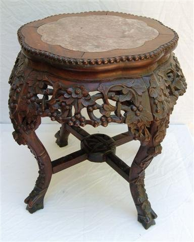 Round Carved Chinese Plant Stand with inset Pink Marble