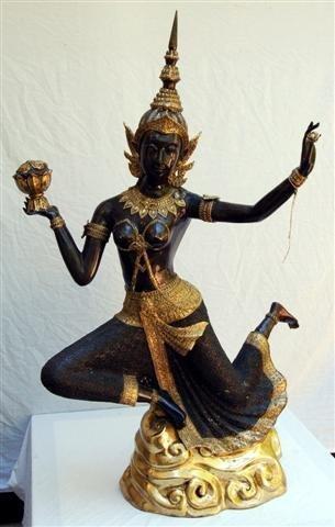 """Thai Bronze Temple Dancer - 44"""" tall"""