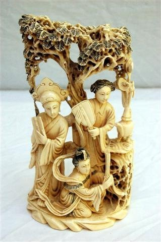 Carved Ivory Figure Group, 3 Figures under a Tree - 8 1