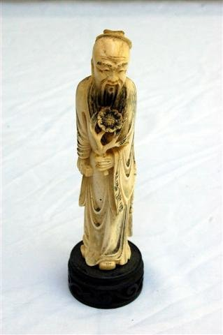 "Carved Ivory Figure of Chinese God on wood base - 6"""