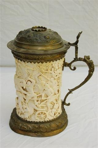Carved Ivory Beer Stein with Brass Interior, Lid and Ha
