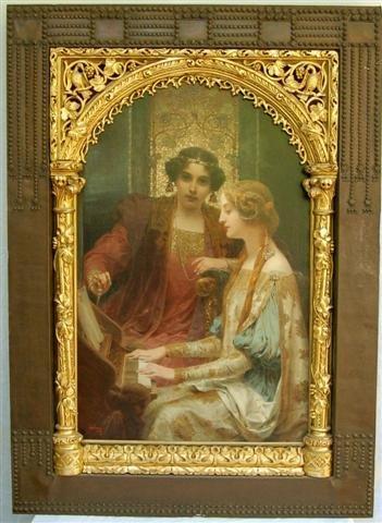 A.H. Schram 19th C Ornate Carved Wood and Metal Framed