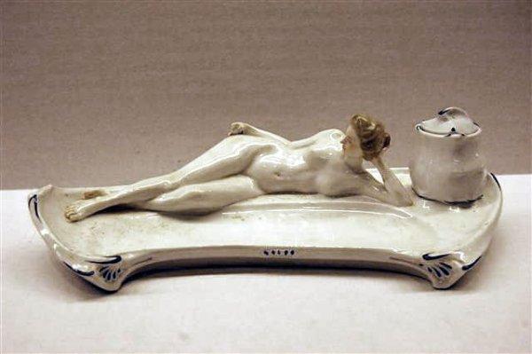 156: Meissen Art Deco Porcelain Ink Stand w/ Reclining