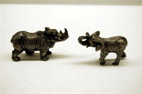 Two Miniature Sterling Animal Figures - Rhino and Eleph
