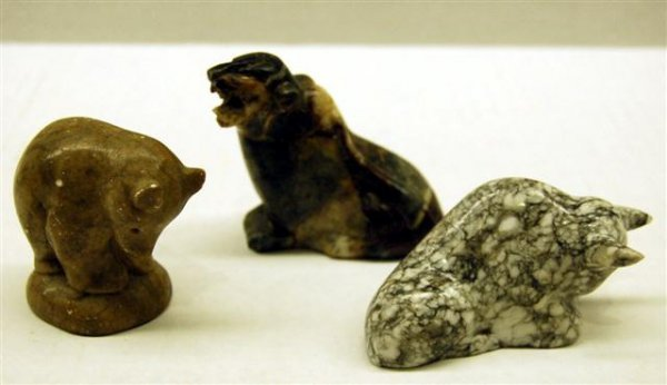 Three Carved Stone Animals - Tiger, Bear and Bull