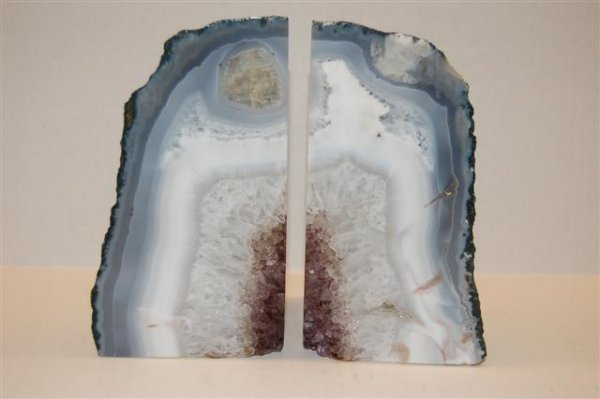 """Pair of Polished Amethyst Geode Book-ends - 7"""" tall"""
